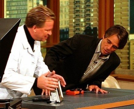 Dr Gadget showing Tony Danza my eMotion products