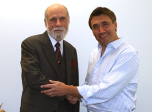 Vint Cerf (co-founder of the Internet) and Norm Levy (User of the internet)
